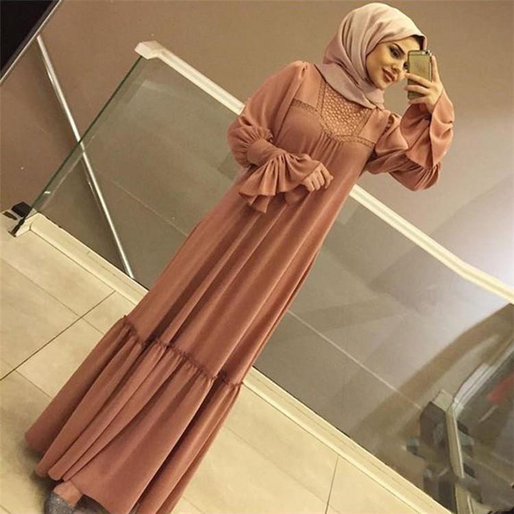 WEPBEL Arab Muslim Fashion Dress Splice Long Bell Sleeve Pure Color Pleated Big Swing Plus Size Islamic Clothing S-5XL