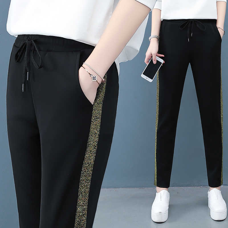 İlkbahar yaz kadın pantolon yeni elastik yüksek bel rahat pantolon siyah düz pantolon artı boyutu 4XL kadın spor pantolon AH68