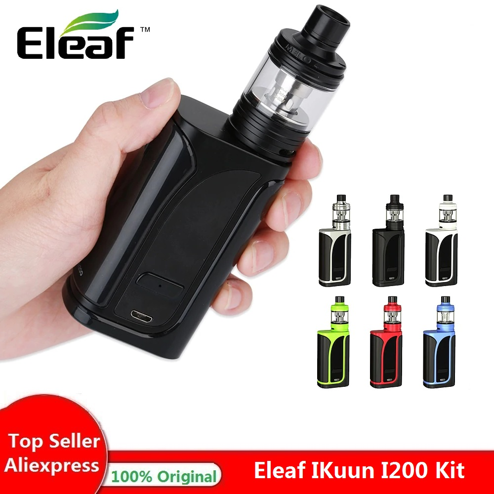 Original 200W Eleaf IKuun I200/ikuu i200 Vape Kit w/4 MELO Atomizador 4.5ml & 4600mAh Bateria Caixa Mod e cig vs Arrastar 2/Kit de Luxe