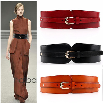 Image 4 - 100% Cowskin Wide Belt For Women High Quality Ceinture Femme Elastic Waistband Female Vintage Genuine Leather Belt Buckles-in Women's Belts from Apparel Accessories