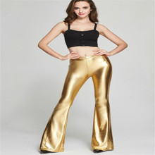 High Waisted Sexy Disco Pants Clubwear Women's Bell Bottom Long Pants Sequin Clubwear Party Trousers