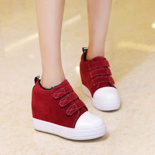 2018 Autumn Winter Ankle Boots for Women Red Black Gray Buckle Strap High Wedge Inside Heels Goth Ladies Shoes Plus Size(China)