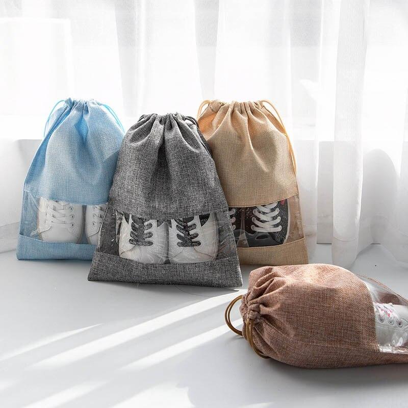 Burlap Travel Shoe Storage Bag Travel Essential Bundle Pockets Thicken Storage Bag Dust-Proof Waterproof Travel Bag