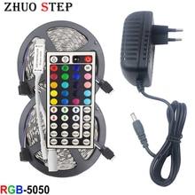 цена на LED Strip Light RGB SMD 5050 2835 LED Tape 5M Waterproof LED Flexible strip diode lighting Ribbon controller DC 12V Adapter set