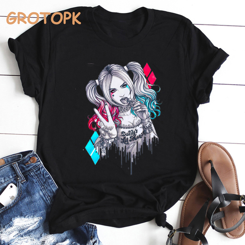 Classic Vintage Sexy Harley Quinn Print Women T Shirt Harajuku Kawaii Tops Grunge Aesthetic Clothes Female Suicide Squad Tshirt