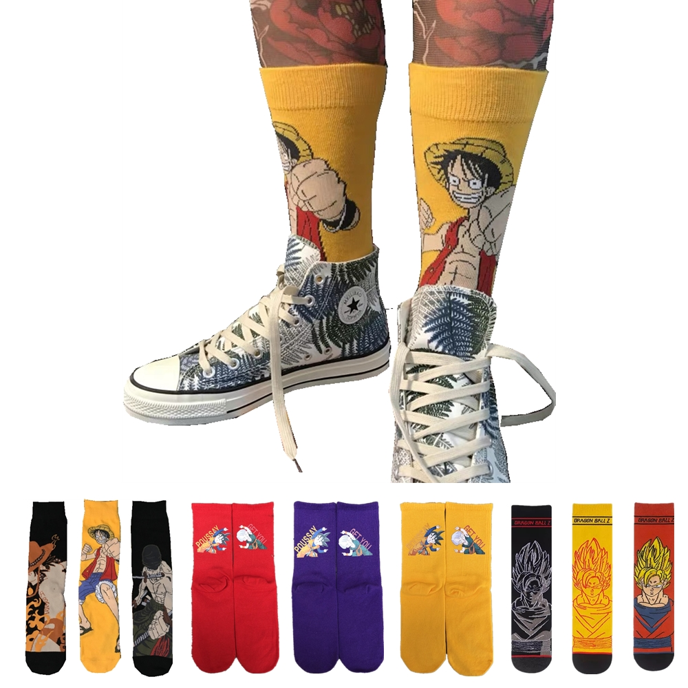 Men's Autumn Cotton Cartoon One Z Piece Luffy Dragon Z Ball Socks Harajuku Japanese Animation University Boys Happy Crew Socks
