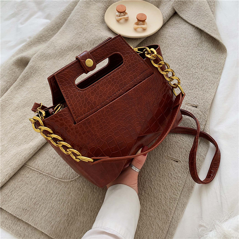 Crocodile Pattern Leather Shoulder Messenger Crossbody Bags For Women 2019 Solid Color Lady Hand Bag Luxury Female Handbag