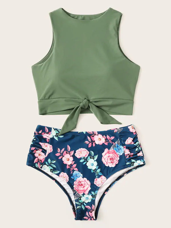 Floral Print Bikini Sets High Neck Women Swimwear High Waist Lace Up Two Pieces Swimsuit Girls Bikinis Sexy Beach Bathing Suit