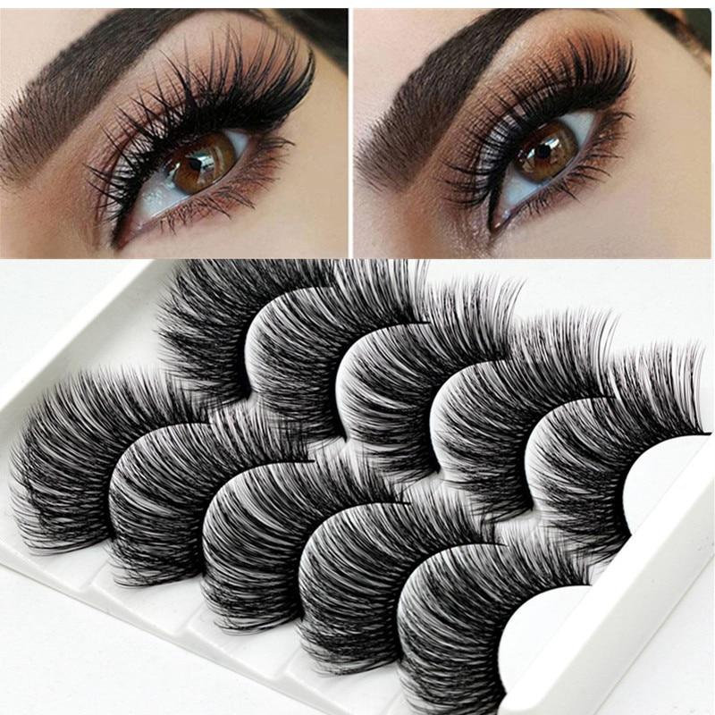 3D False Eyelashes 5 Pairs Of False Eyelashes Natural Soft Eyelashes Thick Eyelashes Mink  Eyelashes Extension Tool