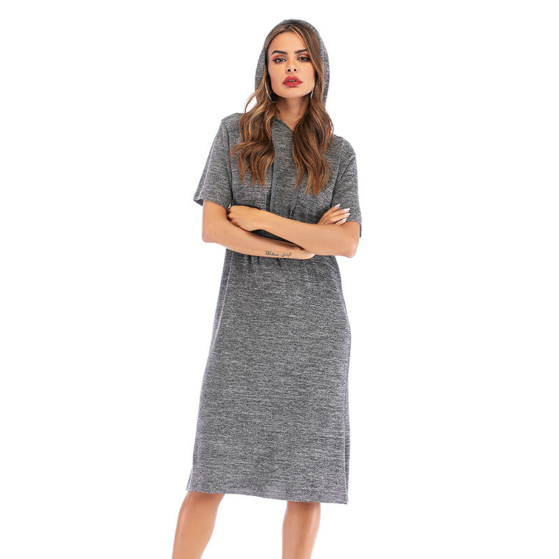 2019 Autumn Party Dresses Women's Solid Color Round Neck Short Sleeve Loose Split Hooded Dresses Woman Party Night Dress