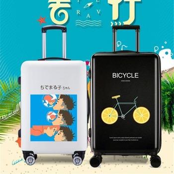 New Cartoon suitcase luggage bag Waterproof suitcase and travel bags traveling luggage bags with wheels travel carry on luggage tanie i dobre opinie CN (pochodzenie) 5 2kg 63cm Rolling przechowalnia 26cm Spinner 42cm KT001 Bagaż Unisex