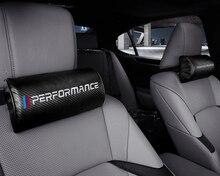 Car M Performance Emblem Leather Headrest Cushion Seat pillow  For BMW E28 E30 E34 E36 E39 E46 E52 E53 E60 E61 E62 X1 X2 X3