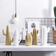 Home Decoration Accessories Living Room Nordic Style Golden White Cactus Ornament Resin Figure Handmade Potted