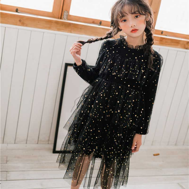 Autumn Patchwork Kids Dresses For Girls Teenager Elegant Princess Wedding Dress Children Teenager Fall Girls Casual Clothing