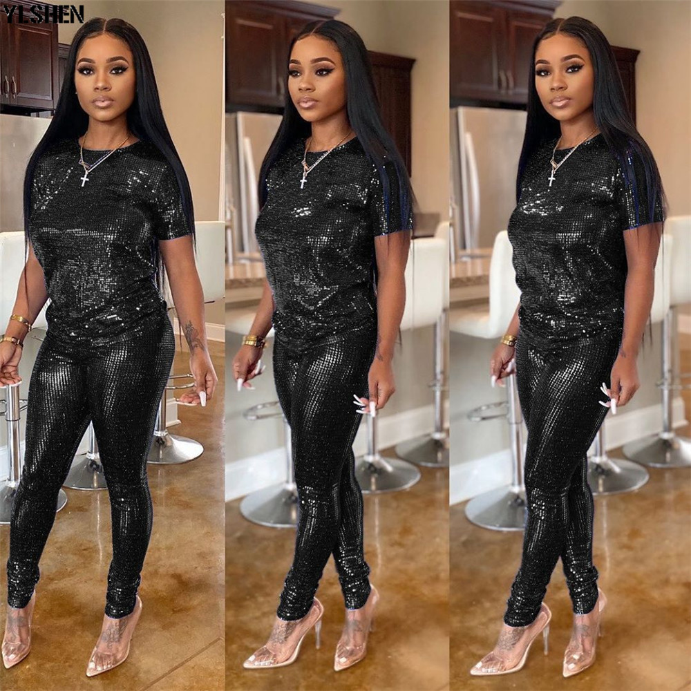 2 Two Piece Set Women African Clothes Dashiki Fashion Sequins Suit (Top And Pants) Super Elastic Party Plus Size Suits For Lady 04