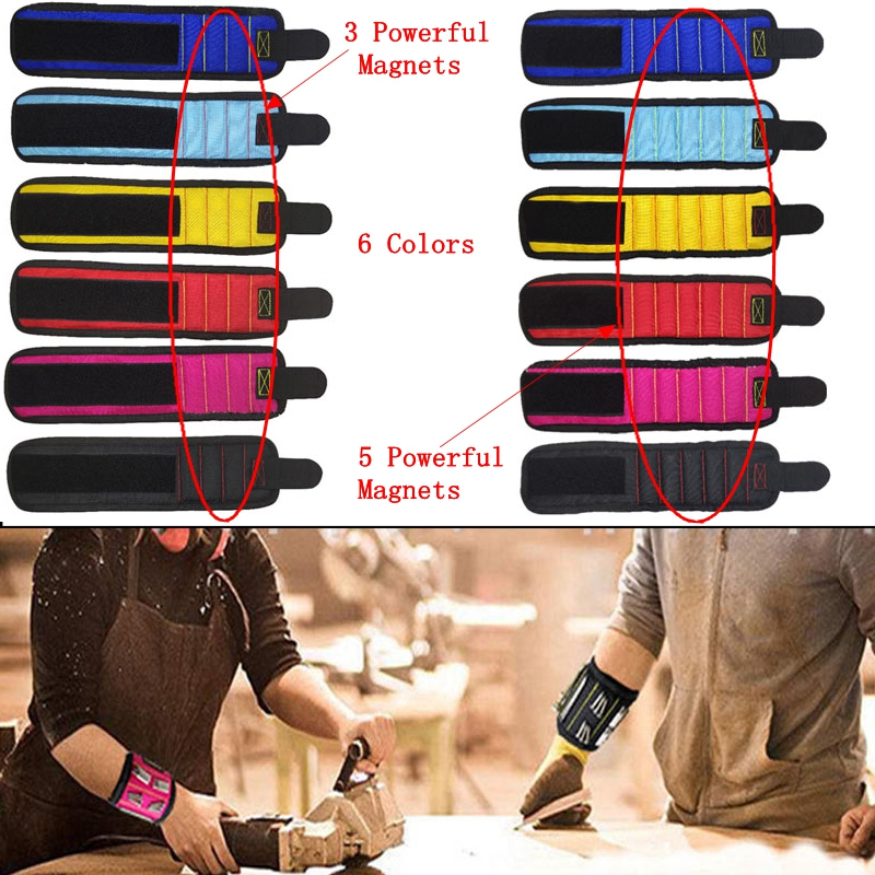 Magnetic Bracelet Tools Electrician Bag Magnetic Wristband Portable Small Tool Bag 3/5 Magnets Screws Nails Drill Bits 2019 New