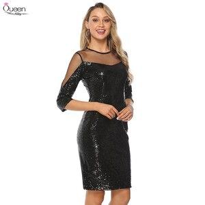 Image 2 - Lantejoulas vestidos de cocktail rainha abby bainha o pescoço ilusão 3/4 mangas dividir zíper up voltar sexy vestidos pretos para festa