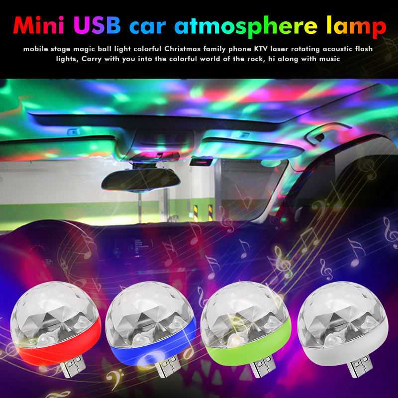 Mini USB Stage Light LED Disco Flash Light Party Lights Portable Crystal Magic Ball Colorful Effect Stage Lamp DJ Lighting Light