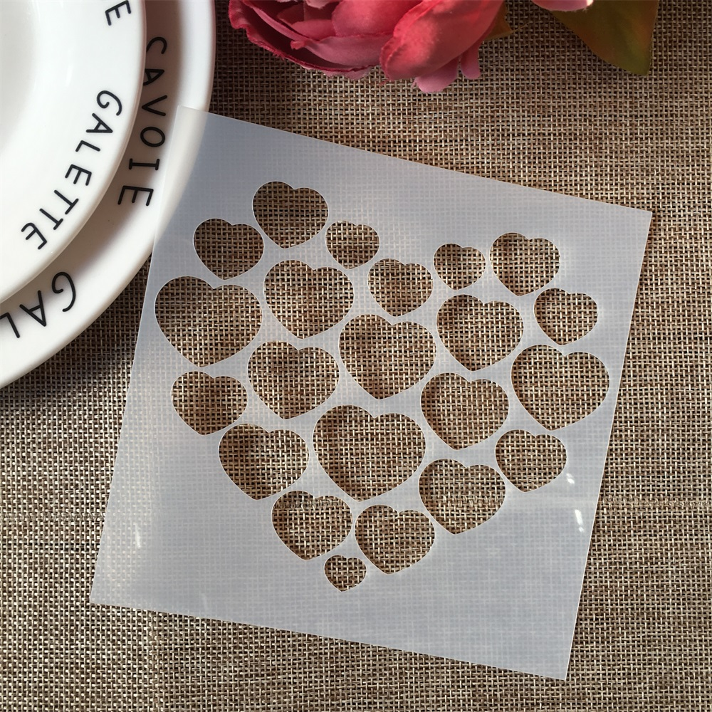 1PCs 13*13cm Valentine Hearts DIY Craft Layering Stencils Painting Scrapbooking Stamping Embossing Album Paper Card Template