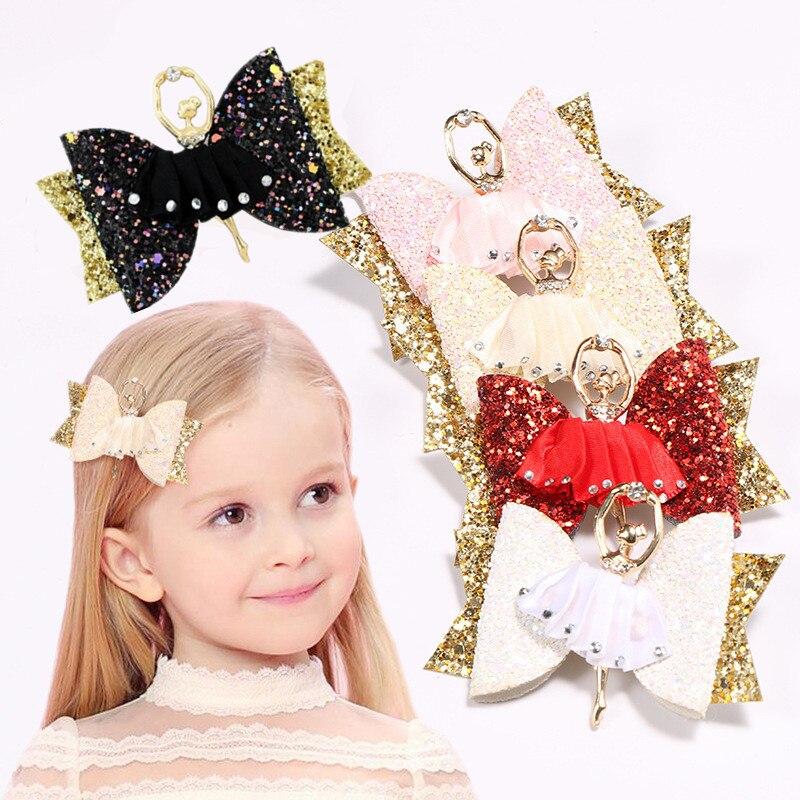 Baby Girl Glitter Flower Bow Hair Clip Hairpin Cartoon Ballet Princess Barrette