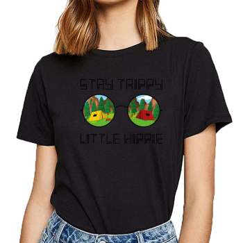Tops T Shirt Women stay trippy little hippie glasses hippie camping premium Casual Black Custom Female Tshirt