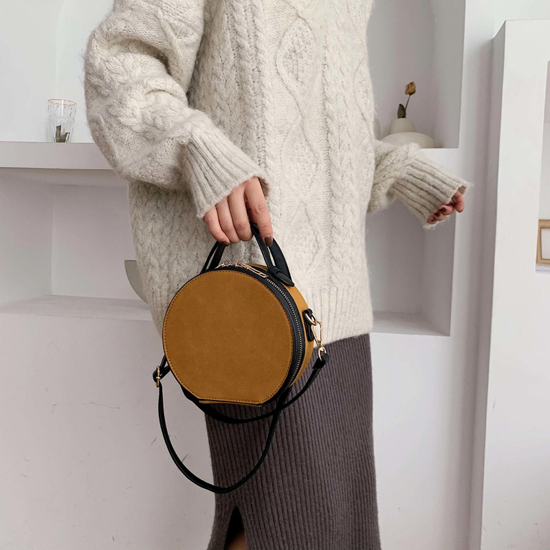 Women Shoulder Bag Fashion Ladies Messenger Bags Waterproof Handbag Round Simple Female High Quality Pu Leather Bag