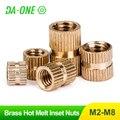 20/50/100pcs M2.5 M3 M4 M5 M6 Brass Pure Copper Metric Thread Injection Molding Knurl Insert Nut Nutsert Embedded Nuts