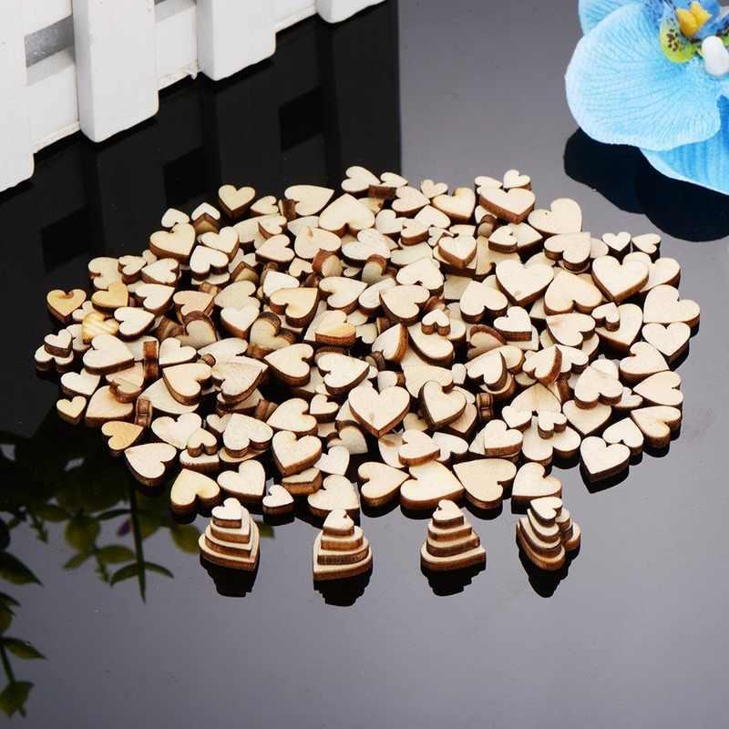 200pcs 6/8/10/12mm 4 Formati Misti Amore a Forma di Cuore di Cerimonia Nuziale Dello Spargimento Della Tabella Decor rustico In Legno Decorazione di Cerimonia Nuziale Bottoni