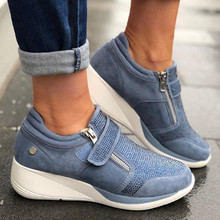 2020 Women Sneakers Flock High Heel Lady Casual Shoes Leisure Platform Shoes Breathable Height Increasing Shoes forudesigns women fashion high top flats shoes cool skull design female height increasing platform shoes for teenage girls shoes