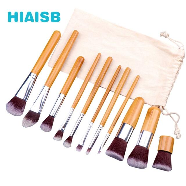 Naturel professionnel maquillage brosse ensemble 11 pièces de haute qualité bambou poignée Vintage maquillage brosse sac de voyage