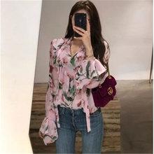 Элегантная шифоновая рубашка с цветочным принтом для женщин