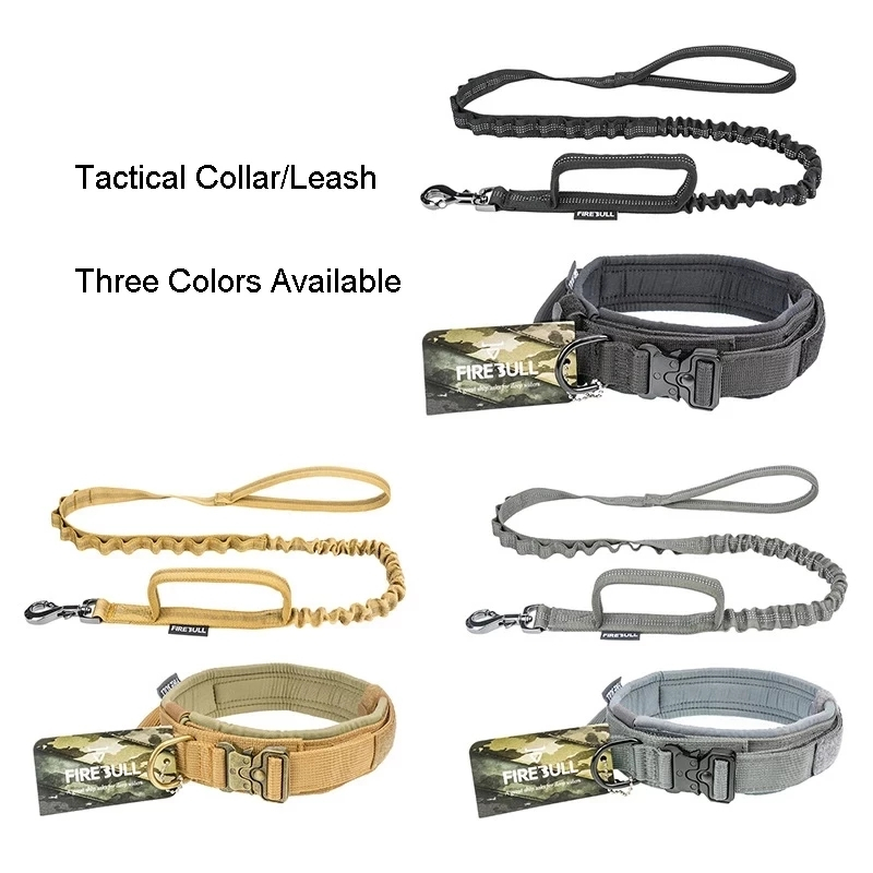 Tactical Dog Collar Leash Set Adjustable Pet Outdoor Military Training Hunting Quick Release Medium Large Dogs German Shepherd