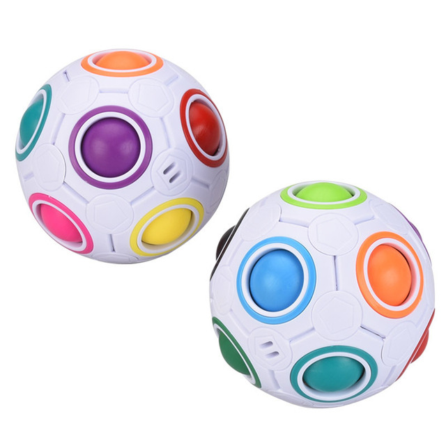 Creative Funny Antistress Figet Toy Adult Stress Reliever Rainbow 3D Magic Ball Football Cube Puzzle Kids Color Educational Toys 1