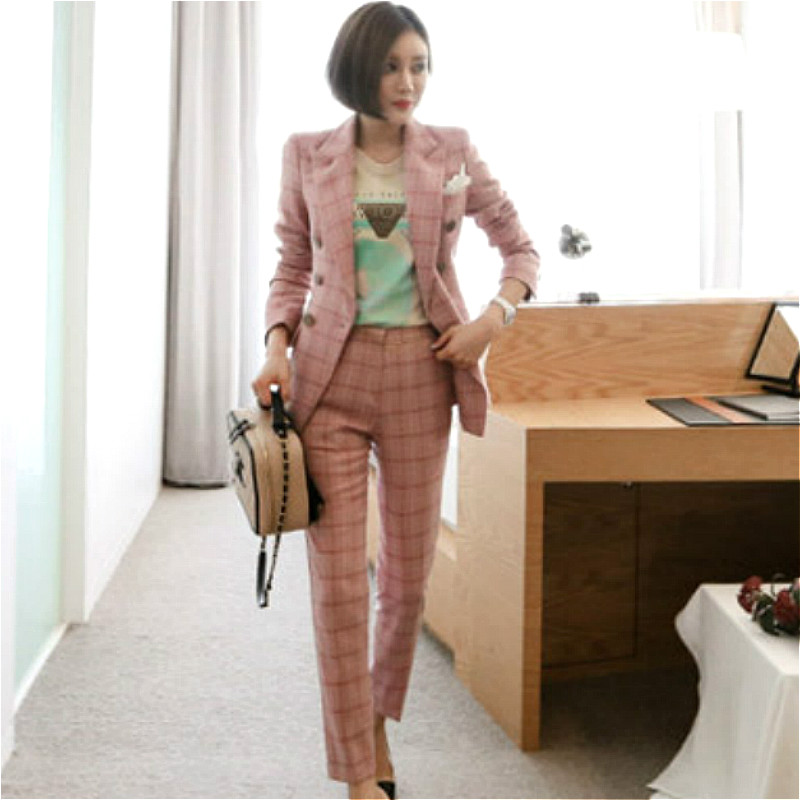 Autumn Double Breasted Pink Plaid Suit Cloth Women OL Notched Blazer Coat Long Pant Two Pieces Female Office Sets