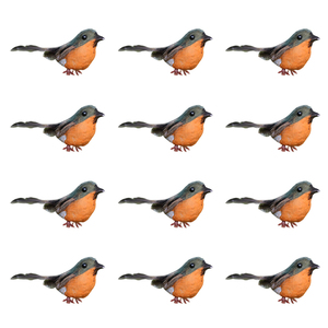 1 Set 12Pcs Practical Christmas Robin Birds Safe Decorative Simulated Robin Bird Fake Birds Christmas Decorations Assorted Color