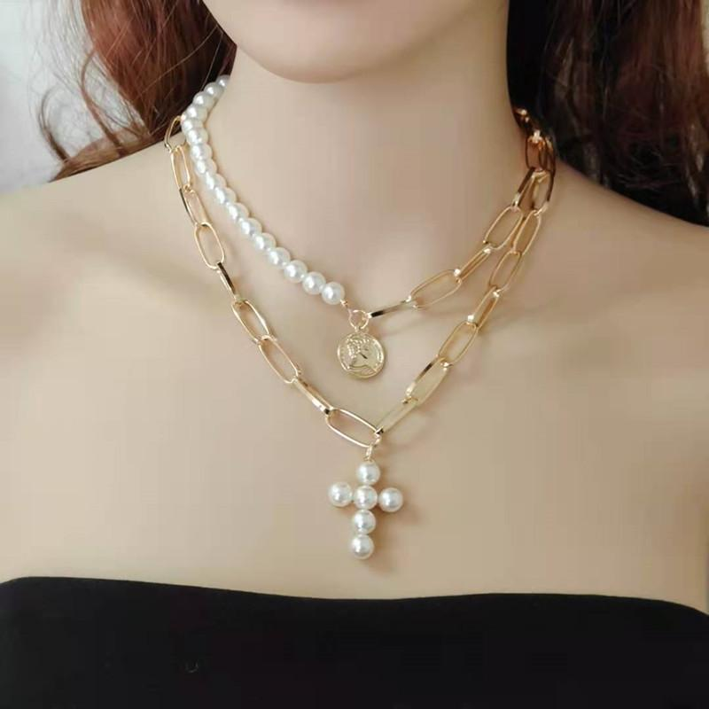 Women's Necklace Fashion Multilayer Pearl Necklace Cross Golden Necklace Personality Complex Portrait Medal Sweater Chain Female