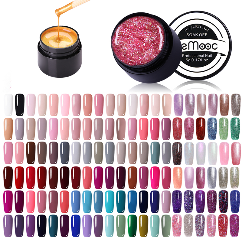 LEMOOC 180 Color 5ml Glitter Nail Gel Nail Polish Shiny Pearl Rainbow Color Soak Off UV LED Art Varnish For Nail