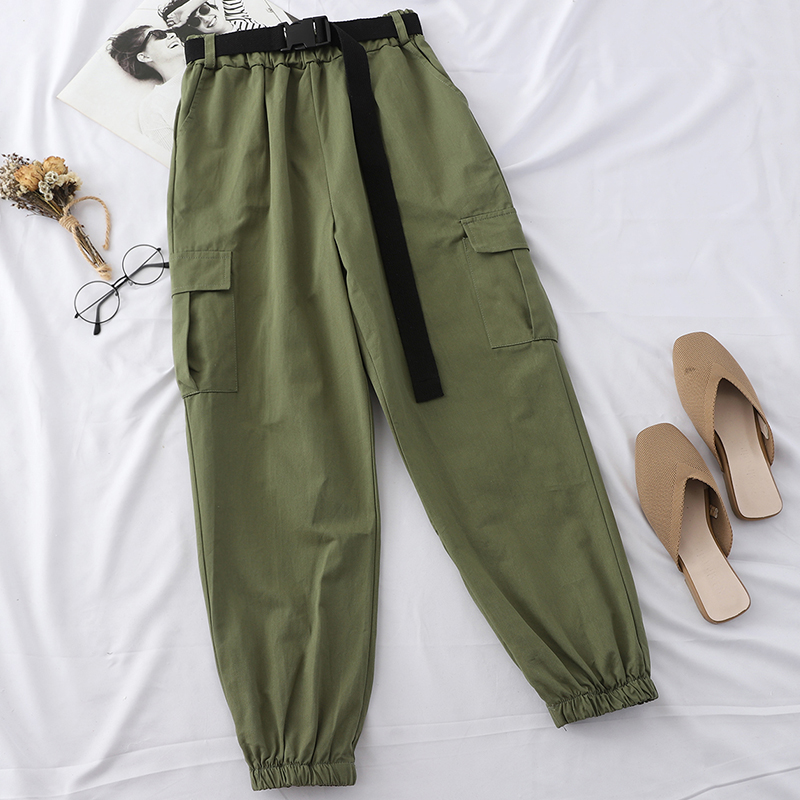 Heliar Nine Fashion Cargo Pants Harlan Style Trousers With Waist Belt Female Long Pants Lady Street Trousers 2019 Fall Winter