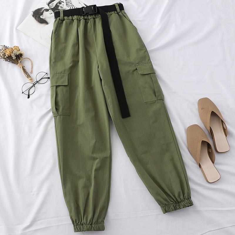 Heliar Nine Fashion Cargo Pants Harlan Style Trousers With Waist Belt Female Long Pants Lady Street Trousers 2019 Fall Winter