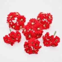 6 шт. Искусственные цветы «сделай сам» Рождественские цветы для скрапбукинга поддельные растения diy Подарочная коробка гирлянды брошь невесты дешевые шелковые Стамен