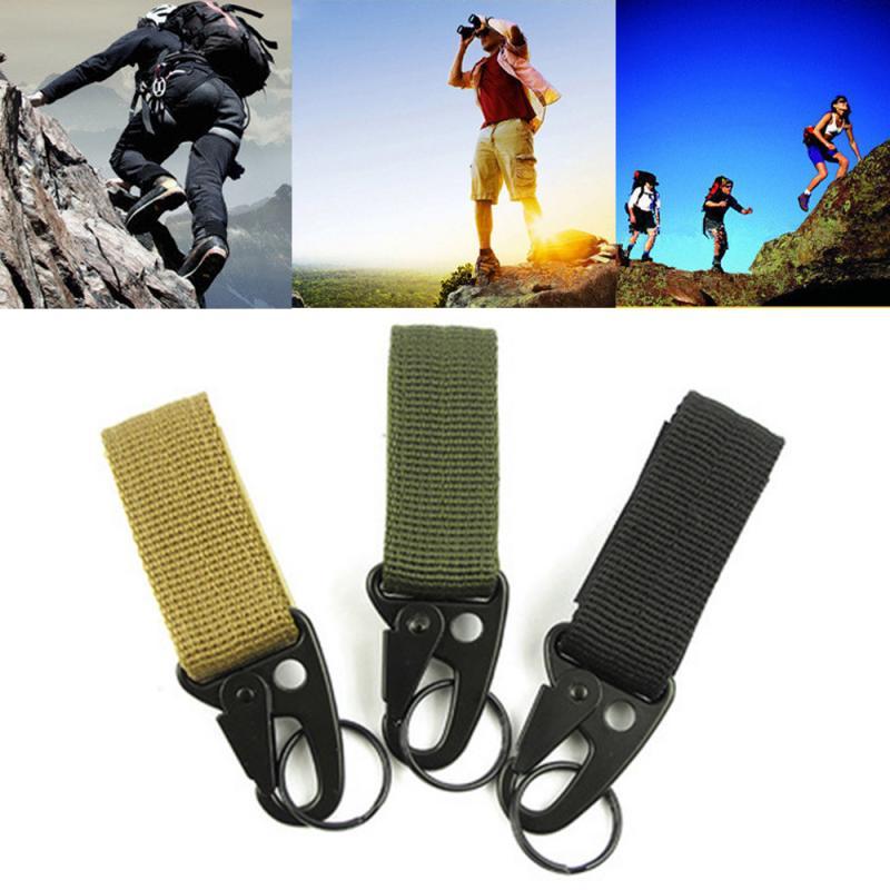 Outdoor Durable Rock Climbing Buckle Tactical Key Ring Belt Holder Military Nylon Hanging Belt Equipment Climbing Accessories