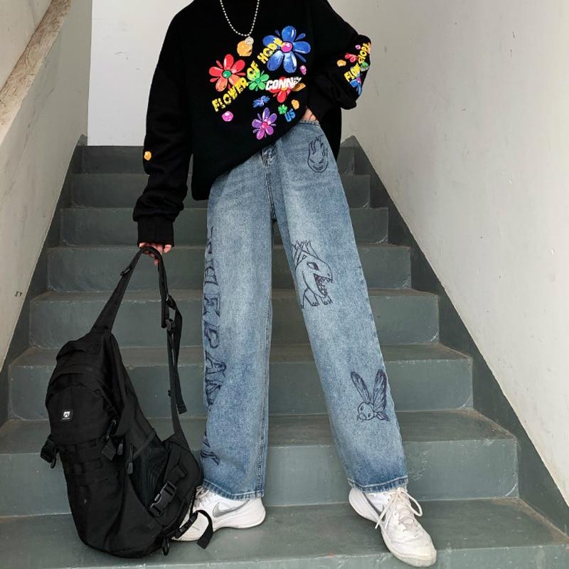 Harajuku Jeans Women Vintage Cartoon Printed Straight Pants Ins Graffiti Jeans Loose High Waist Pants Cotton Female Trousers