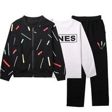 Autumn Boy Clothes Kids Printed Thick Jackets+T Shirts+Pants 3pcs Sets Brand Jackets Trousers Suits Children Set