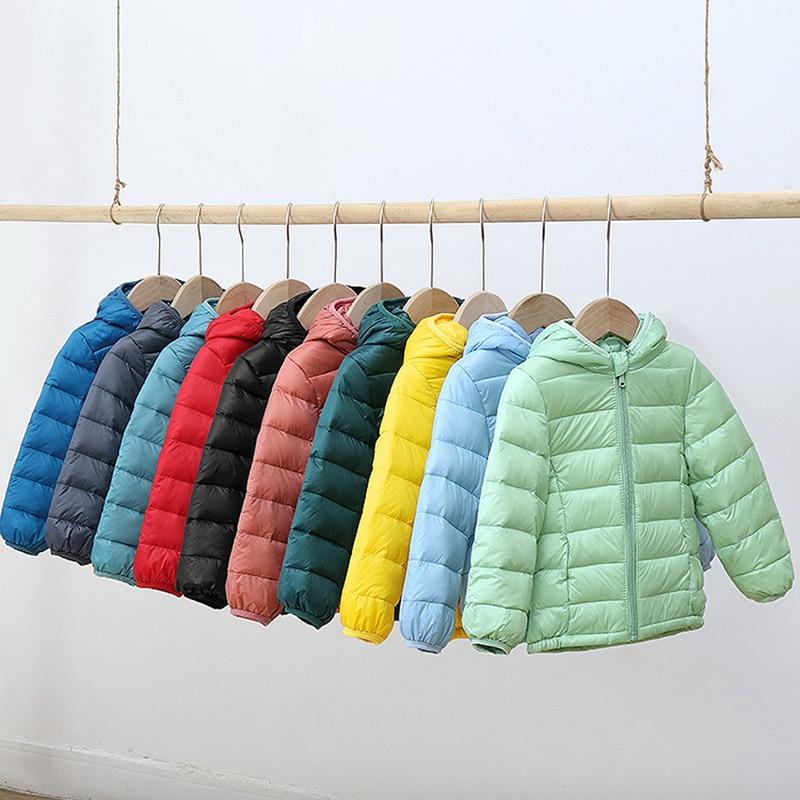 От 2 до 9 лет, Осень-зима 2020, белая куртка-пуховик на утином пуху для девочек и мальчиков, легкая Повседневная теплая детская куртка-пуховик яр...