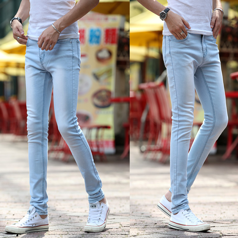 2017 Summer New Style Students Korean-style Slim Fit Pants Jeans Sky Blue White Teenager Jeans