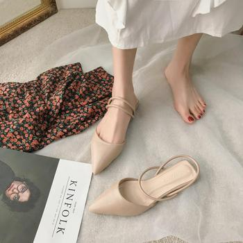 Pointed Toe Flat Shoes Women Slip on Mules 2020 Summer Vintage Cloesed Toe Rubber Soles Beige Sandals Low Heel Sandels for Women cap toe flat mules