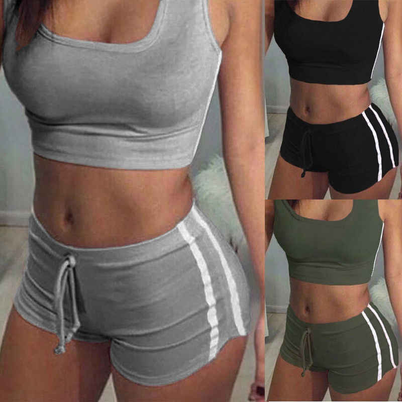 Sexy Women 2PCS Yoga Set Female Sleeveless Tank Top Bra Fitness Shorts Running  Gym Sports Clothes Suit