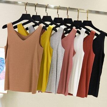 2020 Summer Fashion Women Sexy Tank Tops V-Neck Multicolors Sleeveless Bodycon Temperament T-shirt Vest Camisole Top Ladies Vest