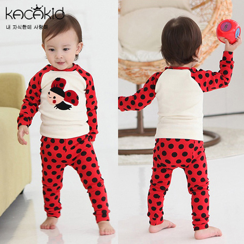 Kacakid Spring And Autumn Tracksuit Men And Women Baby Underwear Suit Cartoon Small Bee Base Clothing Pajama Clothes