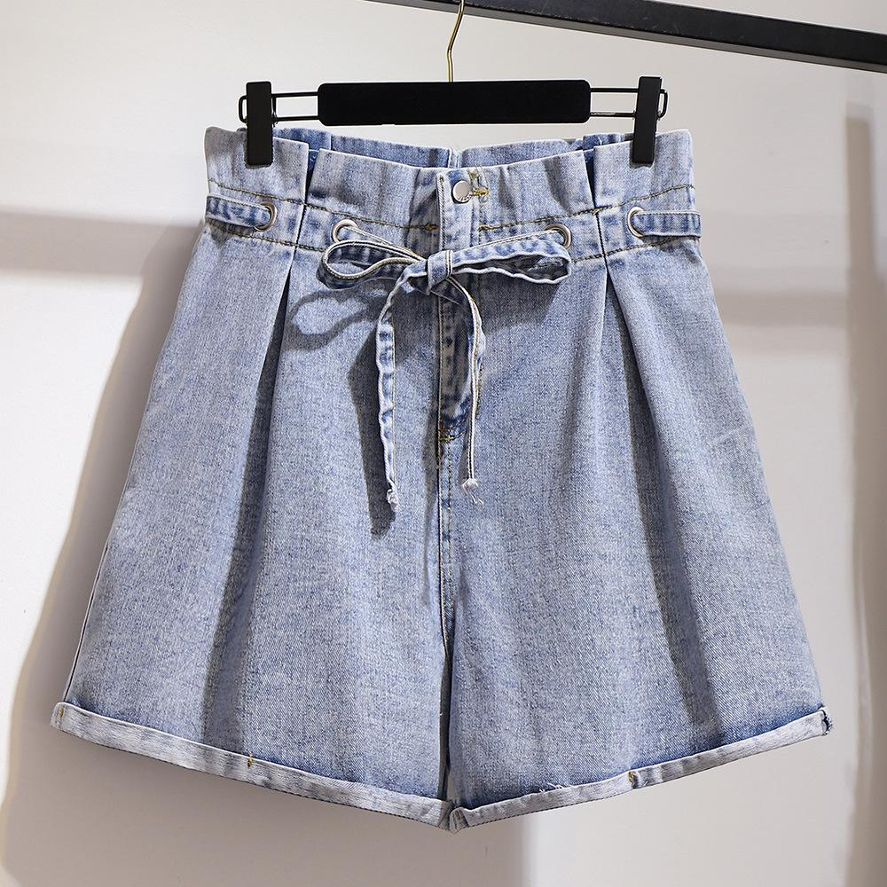 2XL-6XL Large Size Women Denim Shorts 2019 Summer Casual 5XL Plus Size Sash Denim Shorts Wide Leg Female High Wiast Denim Shorts